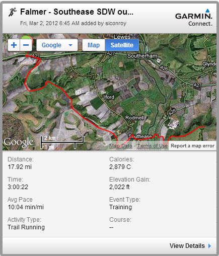 Falmer - Southease SDW out & back - 18m